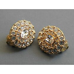 SWAROVSKI CRYSTALS CLIP EARRINGS goldtone & clear faceted crystals CLASSY