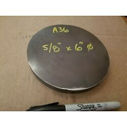 Steel Plate Round Disc,  6'' diameter x 5/8'' thick, A36,   Lathe Stock