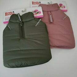Boots & Barkley Puffer Dog Jacket XS Rose or Green, Fleece Lined Adjustable Fit