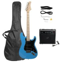 39'' Burning Fire Stylish Sky Blue Basswood Right Handed Electric Guitar Set