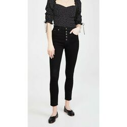 NWT Reformation Harper Button Fly High Rise Skinny Jeans Black Size 24