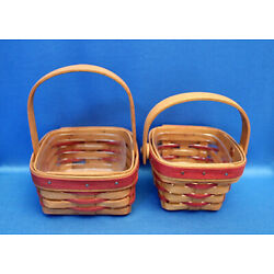 Vintage Longaberger small Handle Basket Lot w/Protectors, NO Liners RED ACCENT