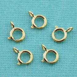 4.5MM 14k Solid Yellow Gold Spring Ring Clasp CLOSED (5)