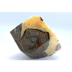 Septarian Cube Crystal Lemon Yellow Calcite Mineral Rounded Edge Stone L37