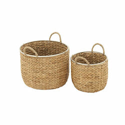 Zimlay Coastal Round Seagrass Set Of Two Baskets With Handles 41141