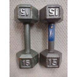 Two 15 Lb Dumbbell Cast Iron Metal Hand Weight Lifting Fifteen Pounds Lbs Pair