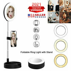 Selfie Ring LED Light Makeup Mirror with Phone Holder Stand for Live Stream US