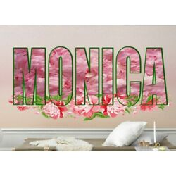 Pion Flowers Custom name wall decal, personalized sticker, personalized decal