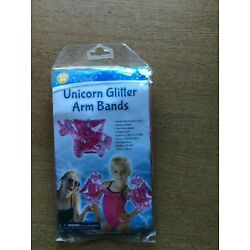 1 Pair Pink Unicorn Glitter Arm Bands swimming pool arm safety Floaties Ages 3+