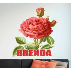 Rose Flower Custom name wall decal, personalized rose sticker personalized decal