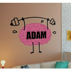Brain Custom name wall decal, personalized sticker, Gym personalized decal
