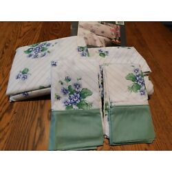 Vtg LADY PEPPERELL50 % COTTON PERCALE QUEEN SHEET SET FRESH VIOLETS NOS