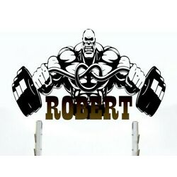 Barbell Custom name wall decal, personalized sticker, Gym personalized decal