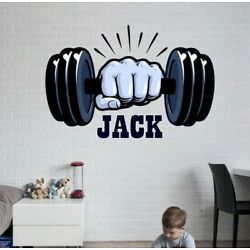 Dumbbell Custom name wall decal, personalized sticker, Gym personalized decal