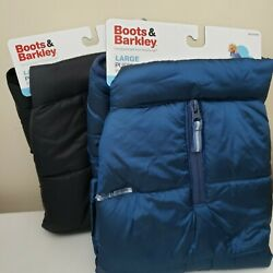 Boots & Barkley Puffer Dog Jacket Size Large (Up to 90 lbs) Blue or Black NWT