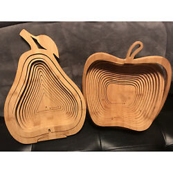 2 Folding Apple + Pear Shaped Collapsible Fruit Storage Baskets Wooden Layers