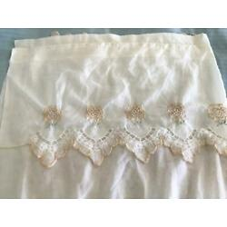 2 Long Sheer Embroidered Curtain Panels ~ Beige 60'' x 80''  ~ Attached Valances