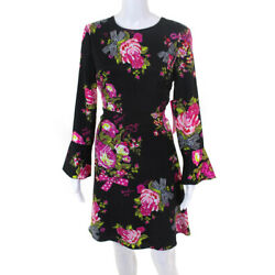 Betsey Johnson Womens Floral Long Sleeve Fit and Flare Dress Black Pink Size 4
