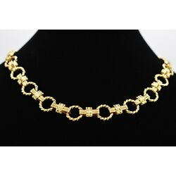 NOS True Vintage 80s Statement Necklace Collar Shiny Gold Linked Chain Chunky 9J