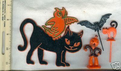 4 vintage halloween cake decorations owl on black cat ebay Vintage halloween decorations uk