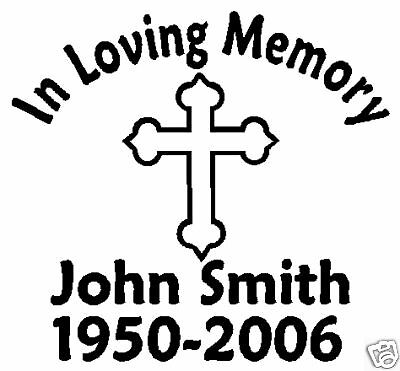 IN LOVING MEMORY CROSS II CUSTOM STICKER DECAL | eBay