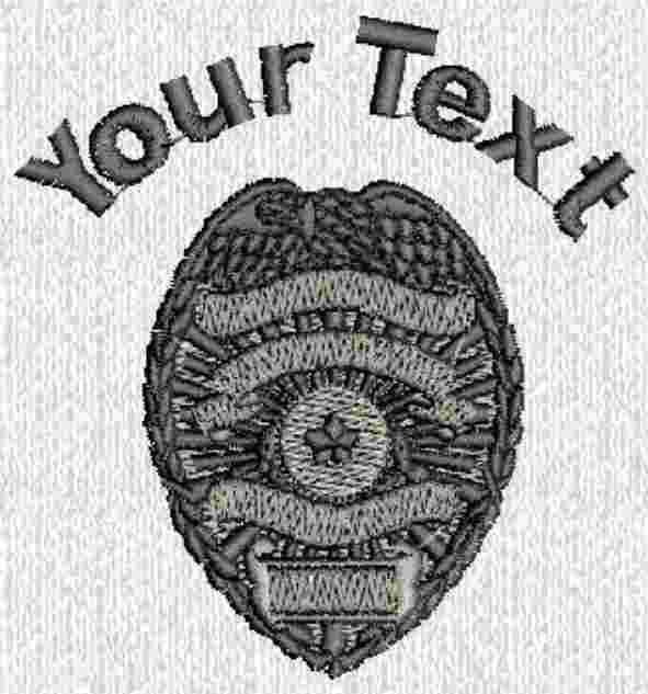 Custom embroidered police officer badge t shirt text ebay for Embroidered police polo shirts