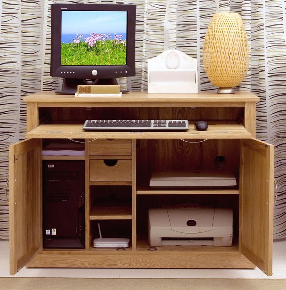 nara solid oak hidden home office computer desk chadwick satin lacquered oak hidden