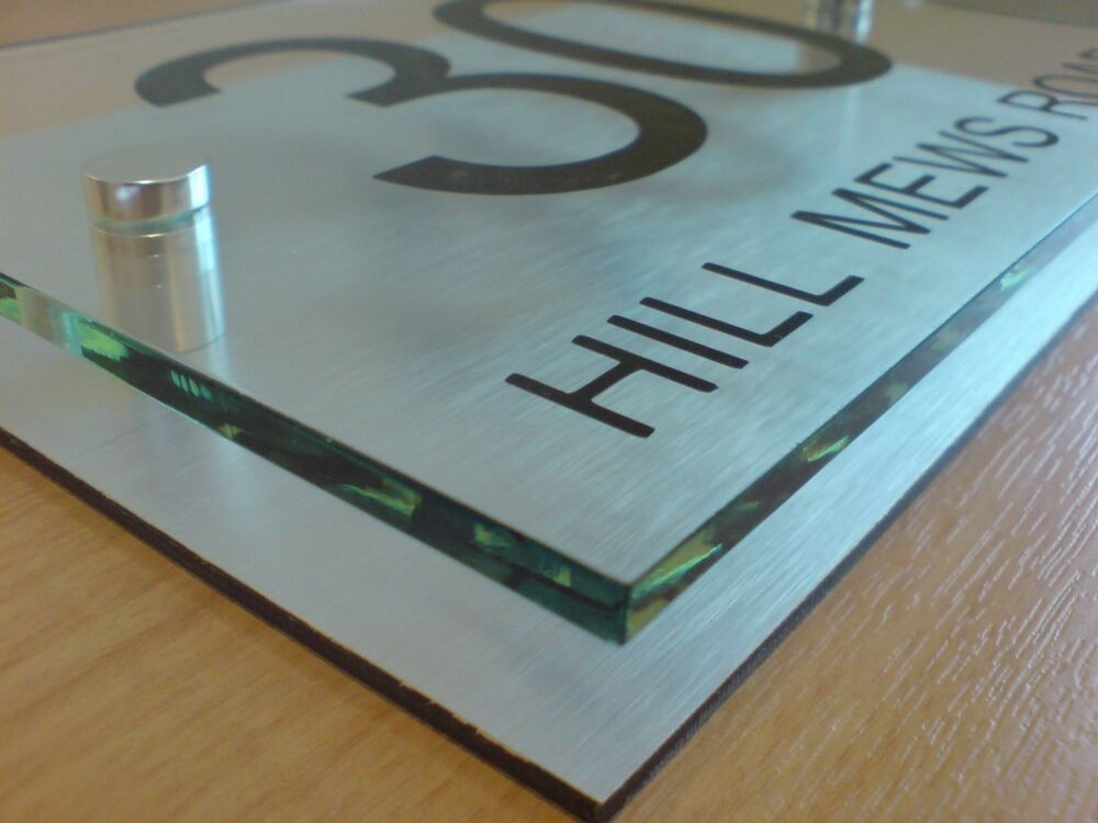 Modern glass house number plaques
