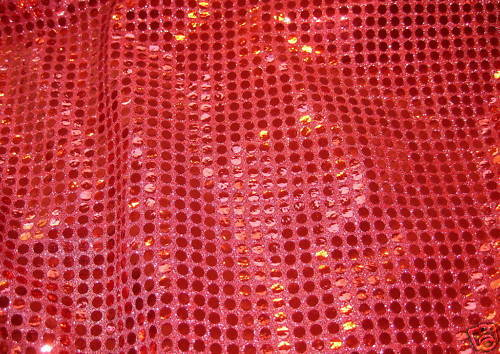 Red sequins look on metallic knit lurex fabric ebay - Fabric that looks like metal ...
