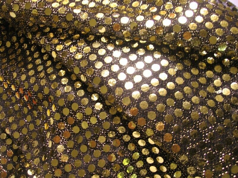 G05 Shiny Gold Sequin Black Fabric Material By Yard Ebay