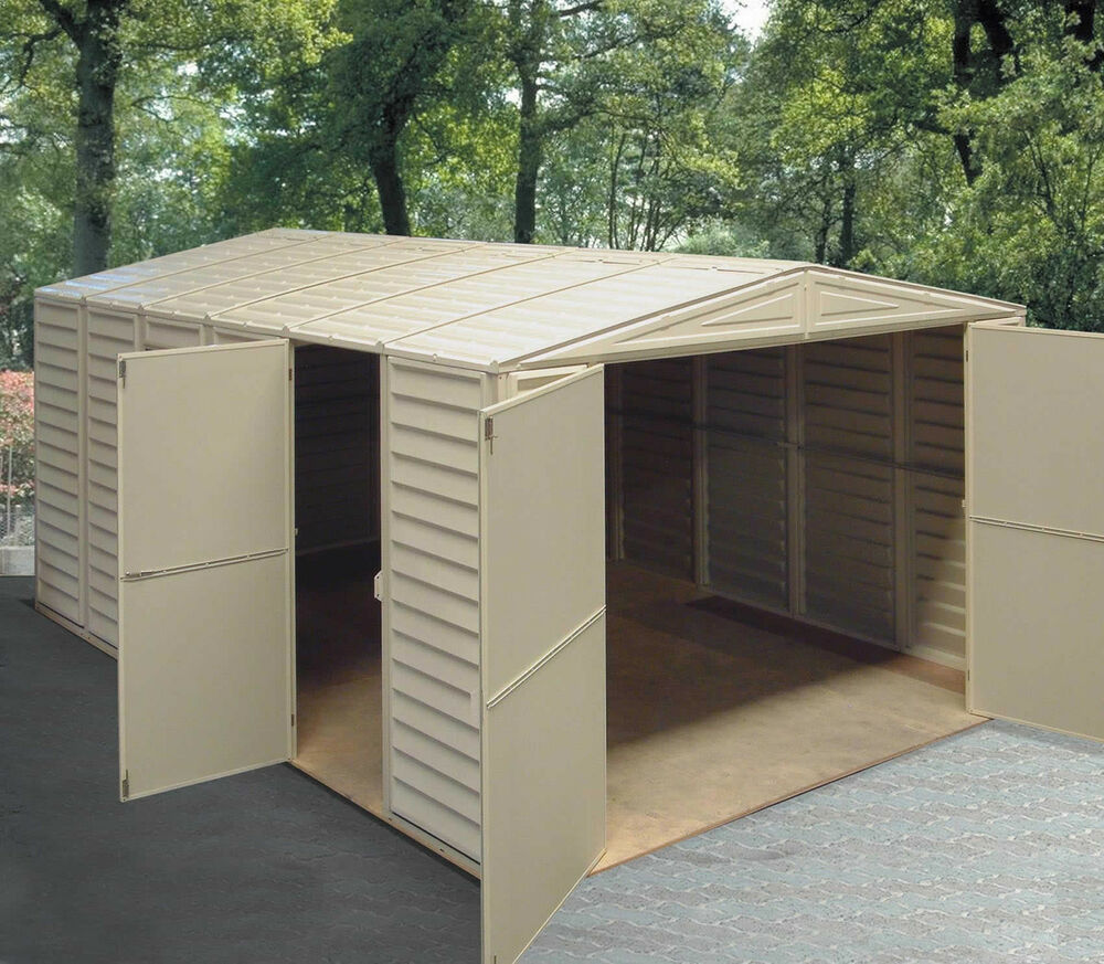 Duramax sheds vinyl storage garage 10 5 39 x 15 5 39 w floor for Garden shed garage