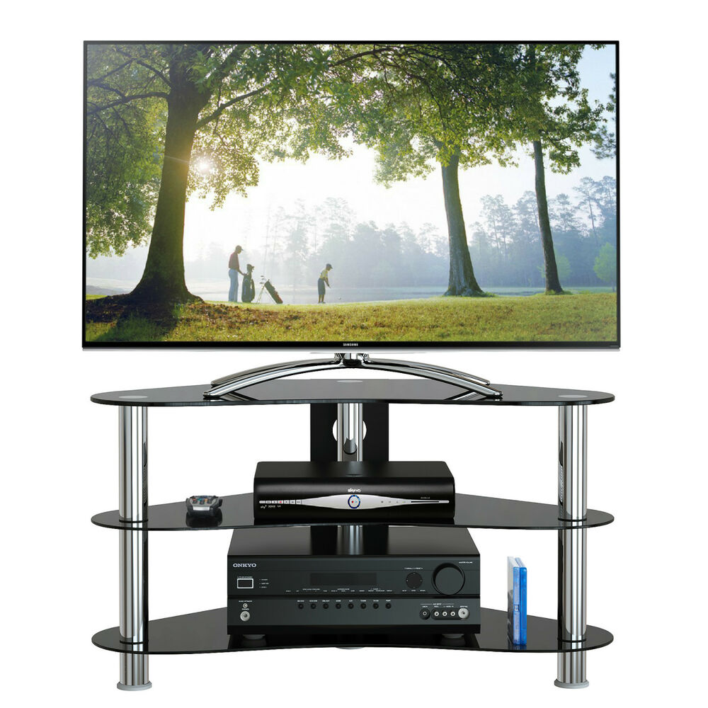 New Gt7 Plasma Lcd 26 42 Curved Black Glass Tv Stand