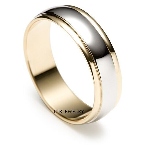 mens 14k two tone gold wedding bands satin finish 6mm
