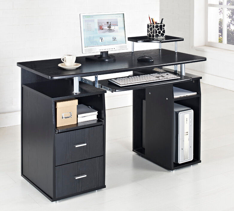 Black Computer Desk Home Office Table Pc Furniture Work Station Laptop Ebay