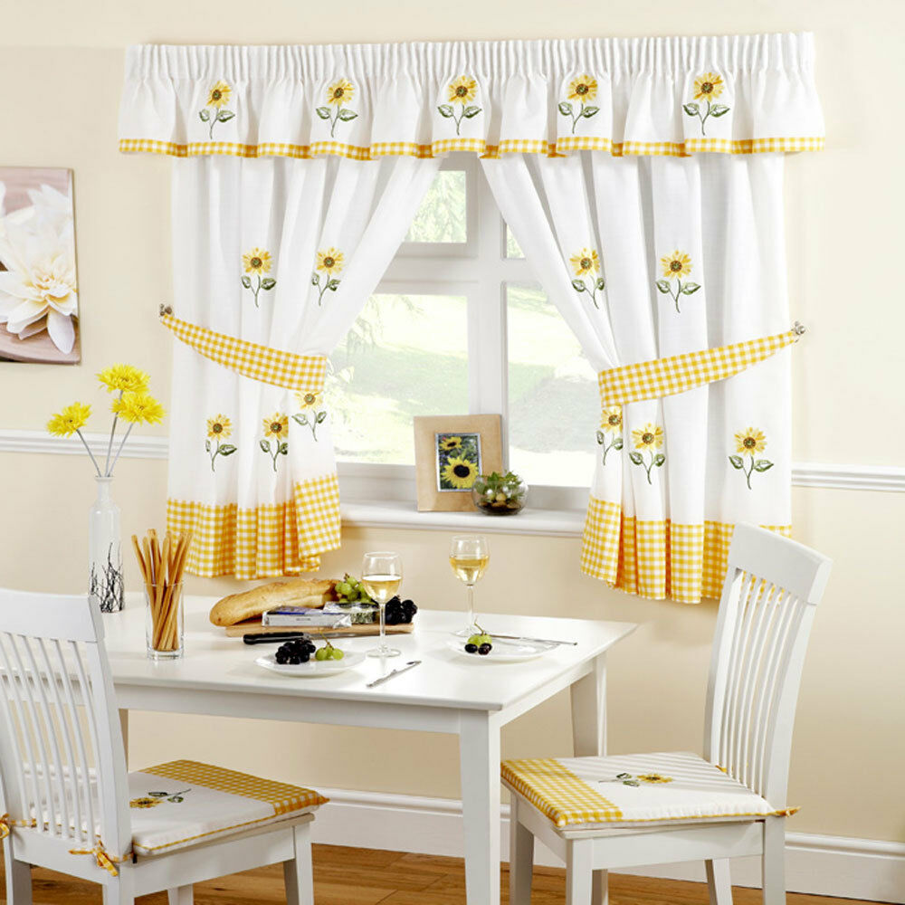 Kitchen Curtains Sunflower Includes Tie Backs