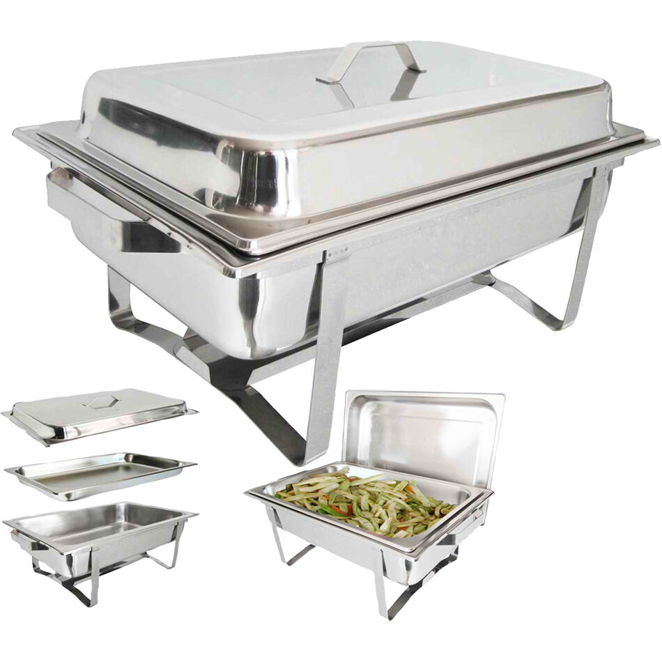 new stackable chafing dish set stainless steel 8 5 l ebay. Black Bedroom Furniture Sets. Home Design Ideas