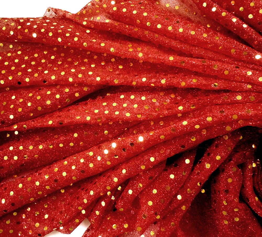 G35 shiny small gold sequin red fabric material by metr ebay for Sparkly fabric