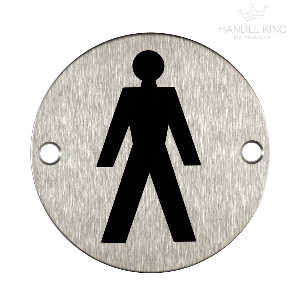 Male Toilet Symbol Stainless Steel Sign 75mm Dia Ebay