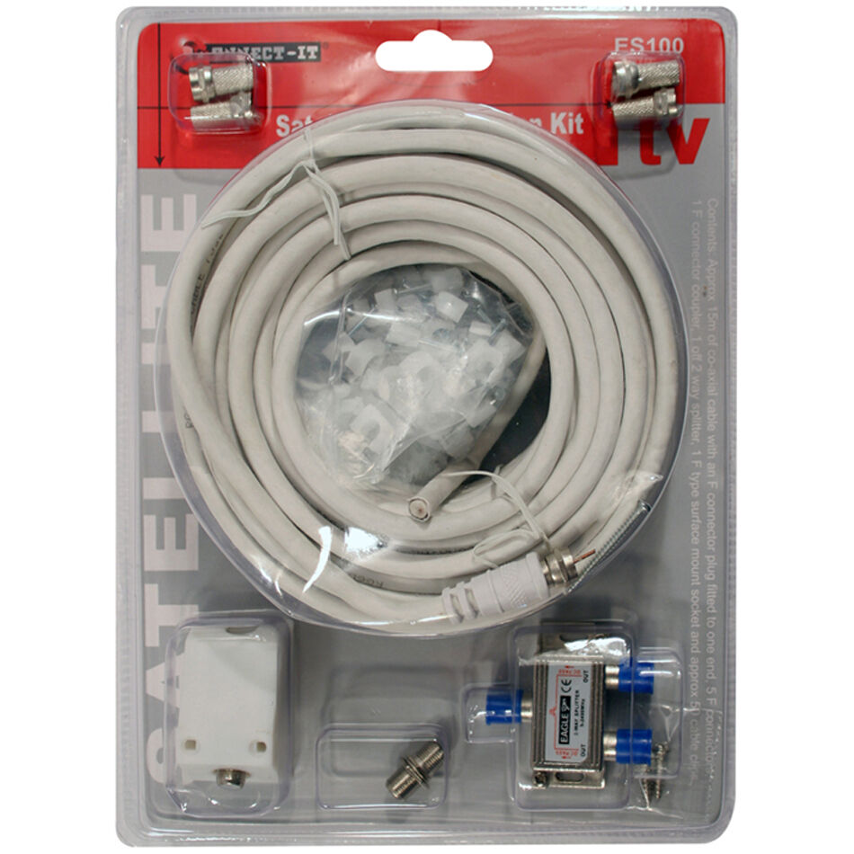 Satellite Tv Diy Extension Kit 15m 50ft Coaxial Cable Ebay Wiring
