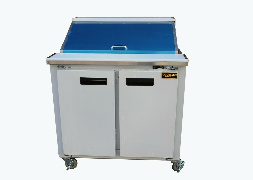"""Used Sandwich Prep Table Refrigerated Cooltech Refrigerated 2-Door Sandwich Prep Table 36"""" 