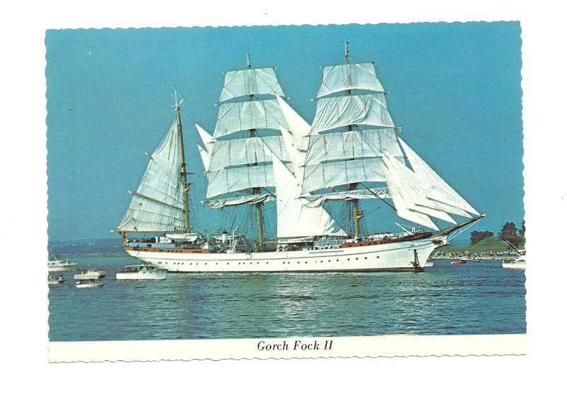 gorch fock ii german sail training ship vtg postcard ebay. Black Bedroom Furniture Sets. Home Design Ideas
