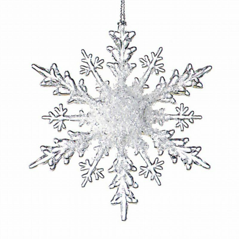 Set 24 Acrylic Clear Frost Snowflake Christmas Ornament Ebay