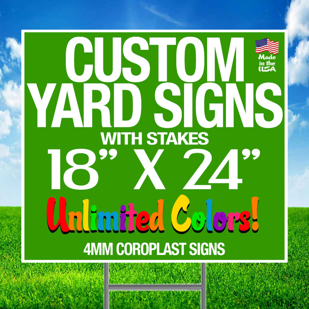 5 18x24 Full Color Yard Signs Custom 2 Sided Stakes Ebay