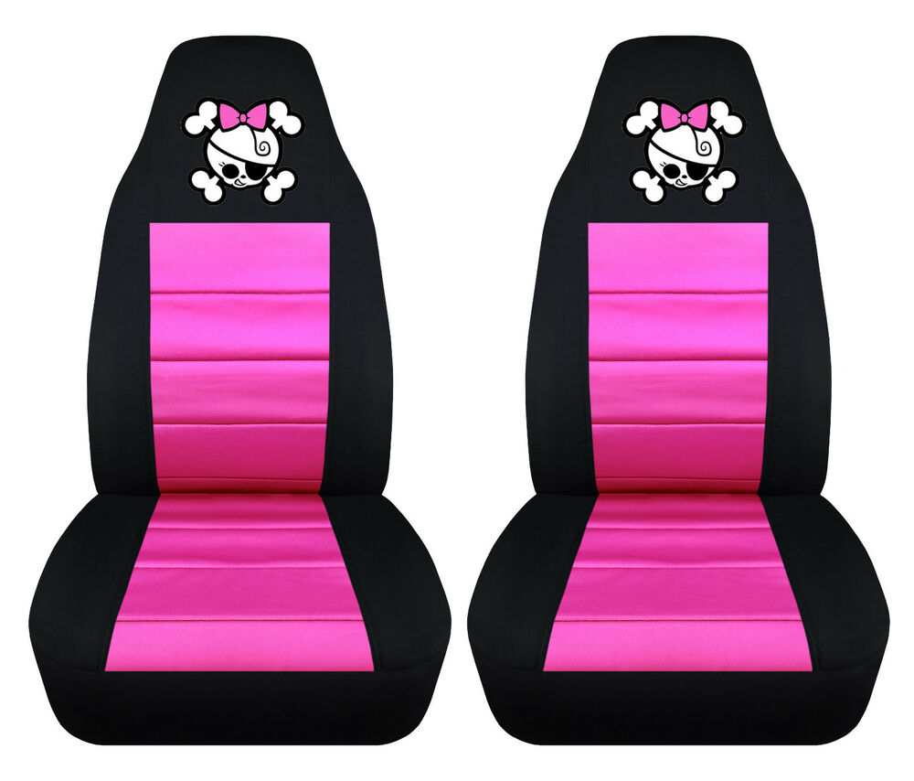 Set Of Girly Skull Front Car Seat Covers Custom Your Own Color Ebay