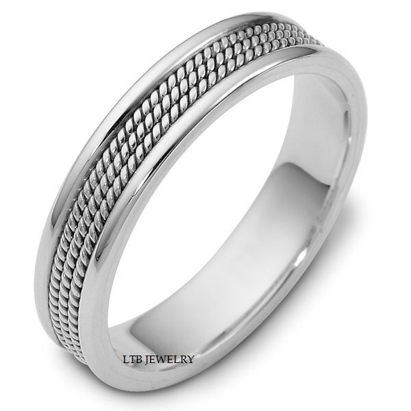 MENS HANDMADE SOLID 14K WHITE GOLD BRAIDED WEDDING BANDS