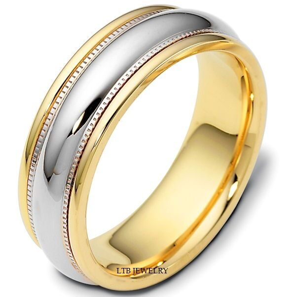 2 Tone Men Bands: 14K TWO TONE GOLD MENS WEDDING BANDS,SHINY FINISH 7MM