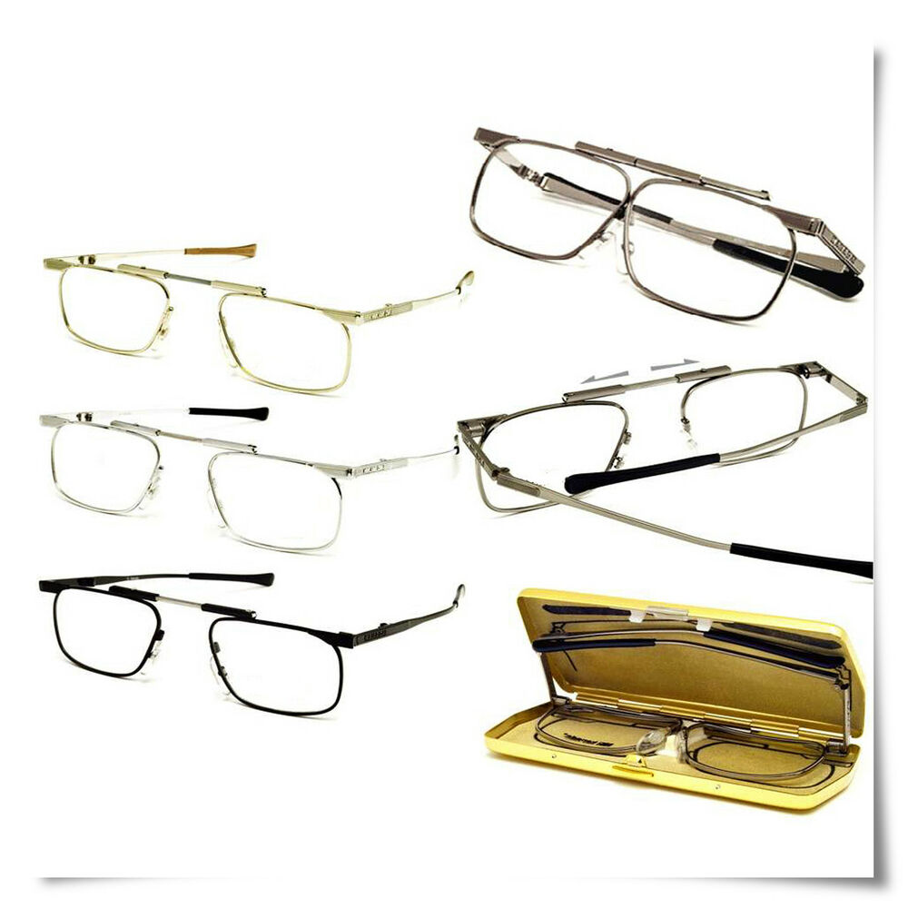 Slimfold Shape Reading Glasses Gold Frame Compact Case eBay