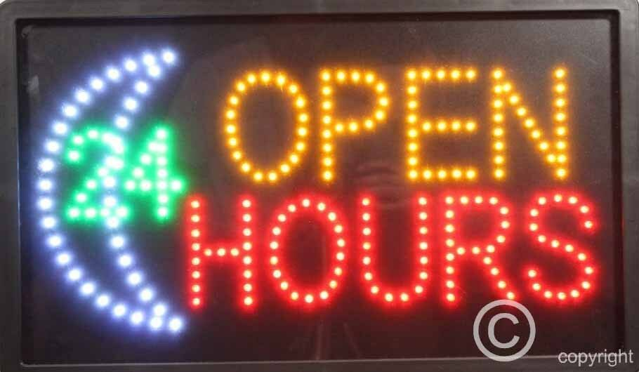 quality flashing open 24 hours led new window shop sign ebay. Black Bedroom Furniture Sets. Home Design Ideas