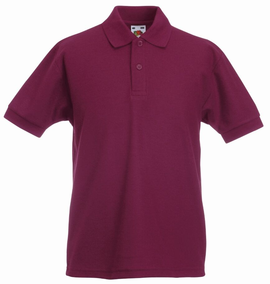 Fruit of the loom plain burgundy maroon boys childs school Burgundy polo shirt boys