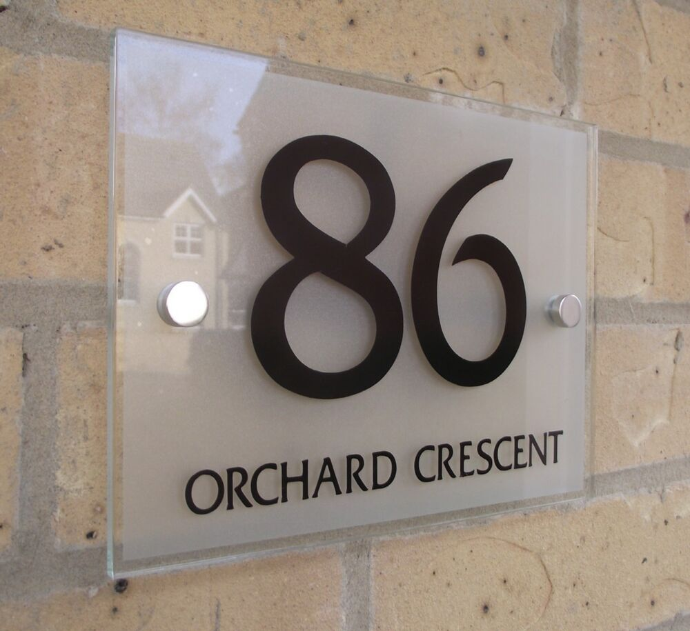 House Number Sign Plaque Modern Frosted Glass ffect eBay - ^